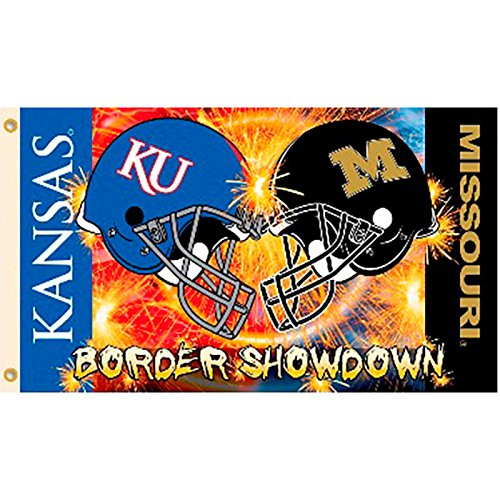 Kansas vs Missouri Helmet Border Showdown House Divided Rivalry 3x5 Flag