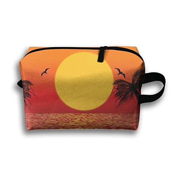 7ad4c4cb8 Amazon.com  Travel Cosmetic Bag Portable Handbag Tropical Scene ...
