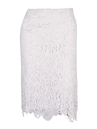 Calvin Klein Lápiz de Encaje Falda de la Mujer - Blanco -: Amazon ...