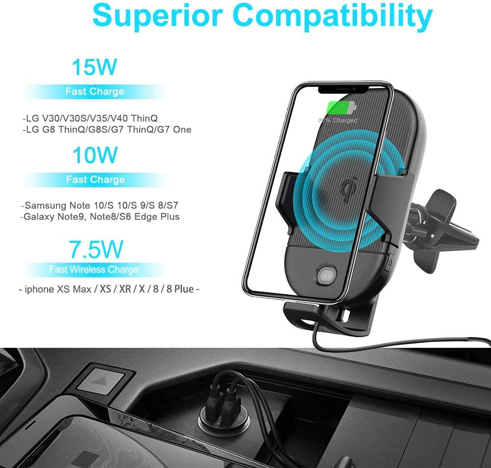 Samsung S10//S10+//S9//S9+//S8//S8+ Lorima Wireless Car Charger,2-in-1 Cup Holder Phone Mount Charger Auto-Clamping Air Vent Phone Holder Compatible with iPhone 11//11Pro//11Pro Max//Xs Max//XS//XR//X//8//8+