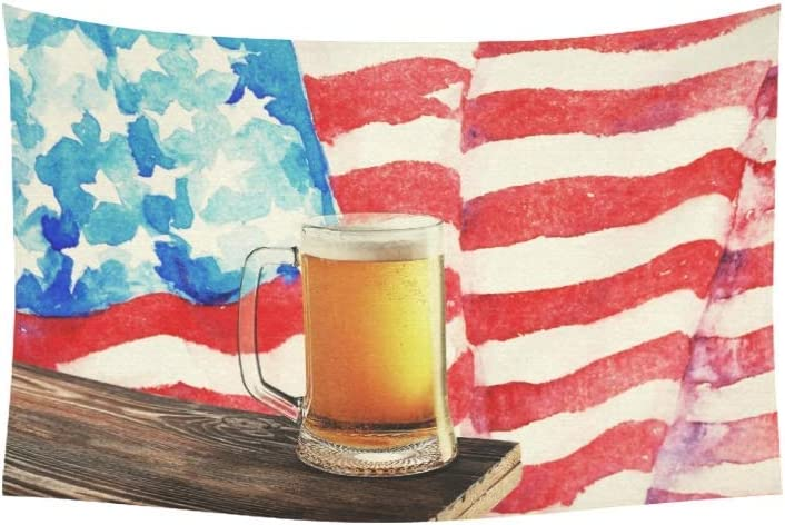shibeili Tapiz Vaso Cerveza en Mesa de Madera Tapices de EE. UU. Tapiz de Pared Flor Tapiz psicodélico Colgante de Pared Dormitorio Indio Decoración para Sala de Estar Dormitorio 60 X 40 Pulgadas