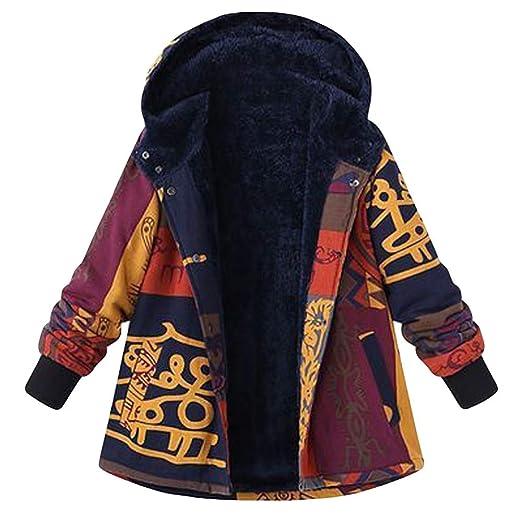 Franterd Plus Size Coat Women Hooded Long Sleeve Ethnic Vintage Trench Coats Fleece Thick Coats Fur