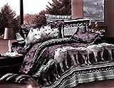 (US) Bednlinens Luxury 4 Piece Sheet Set 3d White Mountain Wolf Print Queen Size Black/White (WOLF-Y08)