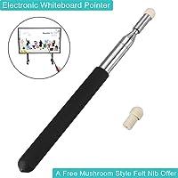 "Telescopic Teacher Hand Pointer, BonyTek Retractable Classroom Electronic Whiteboard Teaching Pointer Scalable Leader Baton Tour Guide Flagpole with White Mushroom Felt NIB, Extends to 39"" - Black"