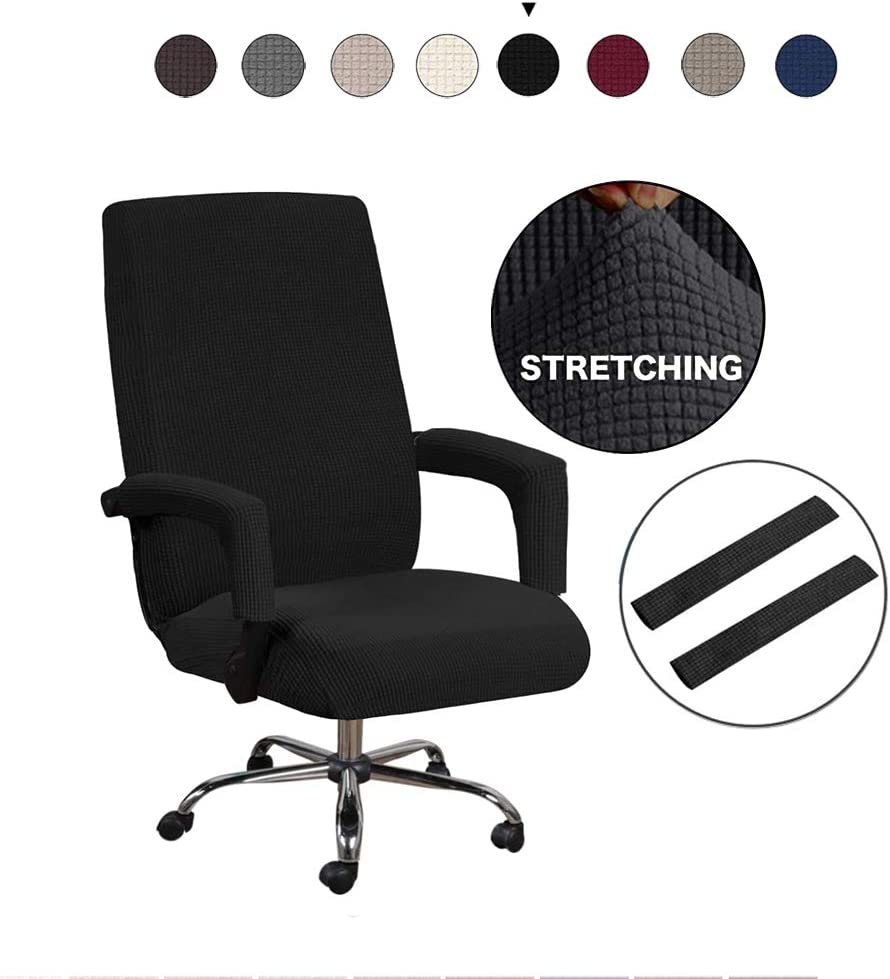 GAEA.TEX Office Chair Cover Computer Chair Boss Swivel Chair Slipcover Durable Stretch Soft Protector with Arm Covers (Large, Black)