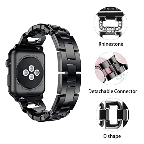 XIHAMA Correa para Apple Watch Series 5 4 3 2 1, 38/42/40/44mm Bracelet de Diamantes de imitación Acero Inoxidable