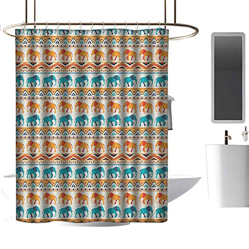 Qenuan Waterproof Fabric Shower Curtain Elephant,Horizontal Borders with Exotic Animals Ethnic Geometric Orient Design, Turquoise Orange Cream,Eco-Friendly,for Bathroom Curtain 60