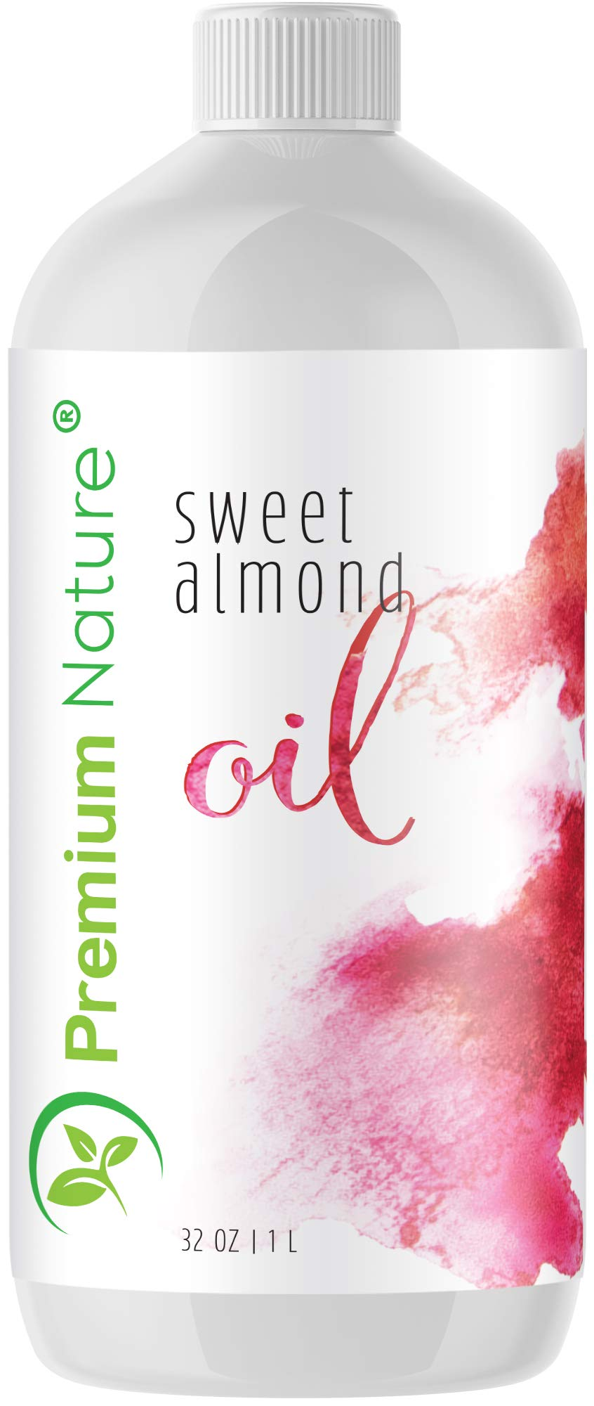 Sweet Almond Oil Best Carrier Oil – 32 oz 100% Natural Pure for Skin & Hair – Cleansing Properties Evens Skin Tone Treats Irritated Skin Nourishes Moisturizes & Prevents Aging Premium Nature
