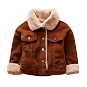 Toddler Baby Boy Girl Vintage Corduroy Coat Fuzzy Fleece Lined Thick Jacket Outerwear Winter Warm Clothes (Coffee, 12-18M)