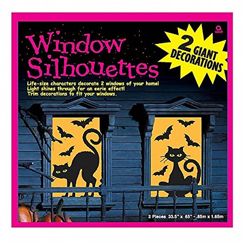 Window Decorations Halloween (Amscan Cats and Bats Window Silhouette Halloween Trick Or Treat Decoration (2 Piece), Black/Orange, 65