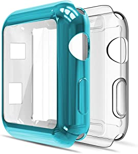 Simpeak Soft Screen Protector Bumper Case Compatible with Apple Watch 38mm Series 2 Series 3, Pack of 2, All-Around, Clear+Blue