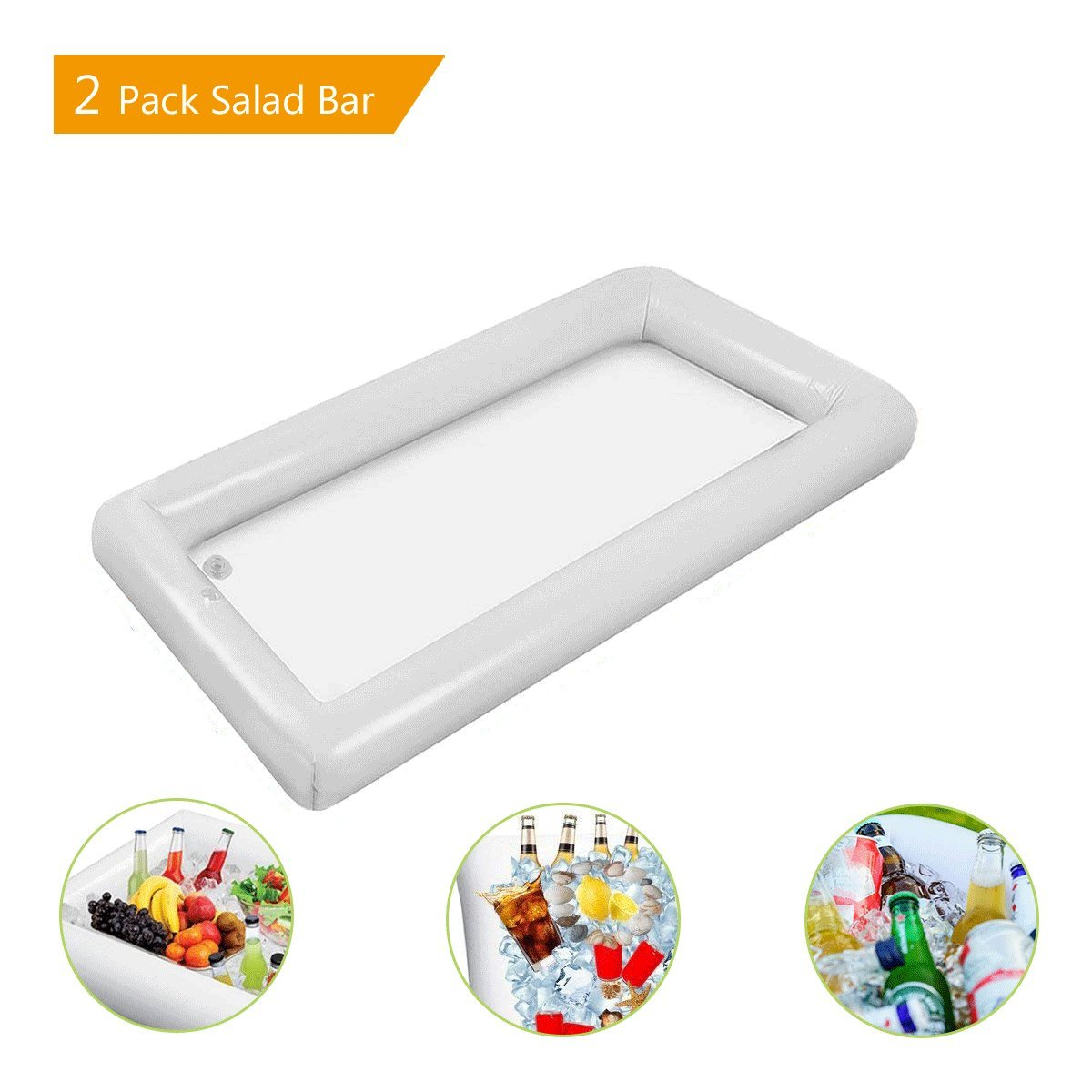 2 Piece Inflatable Salad Bar Tray Food Drink Holder for BBQ Picnic Pool Party Supplies Buffet with a Drain Plug