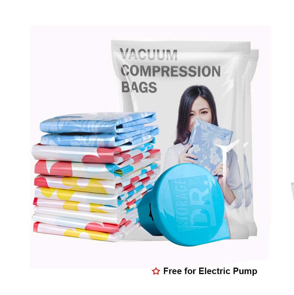 Premium Vacuum Storage Bags 12 Pack (5 x Jumbo, 2 x Medium,3 x Small,2 x Travel) 80% More Space Saver Bags Double-Zip Seal, for Clothes, Blankets, Comforters, Pillows - Electric Pump Included by Maxspace