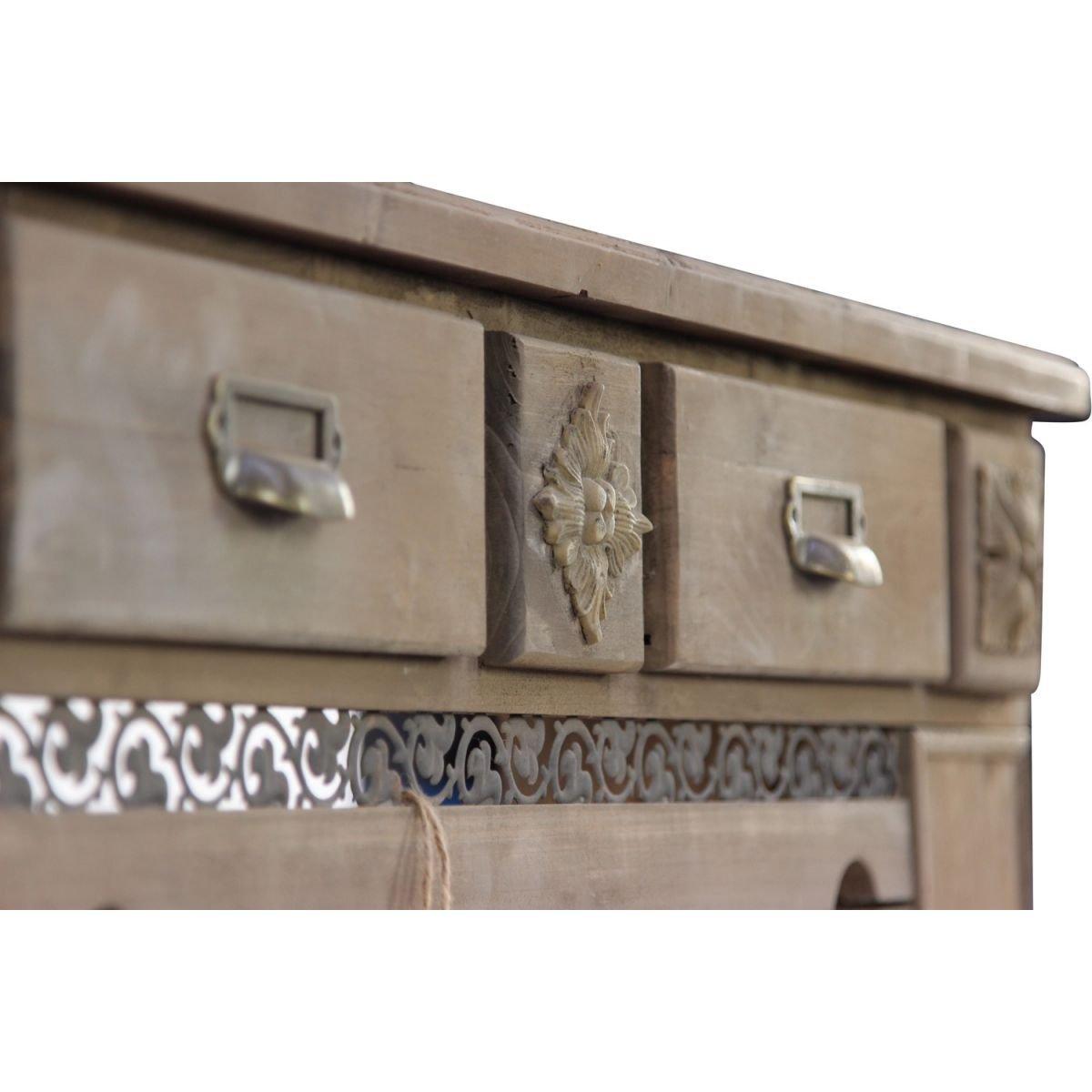 Encadrement Manteau Chemin/ée 2 Tiroirs 108.5x20.5x111.5cm D/écoration dAutrefois Marron Bois