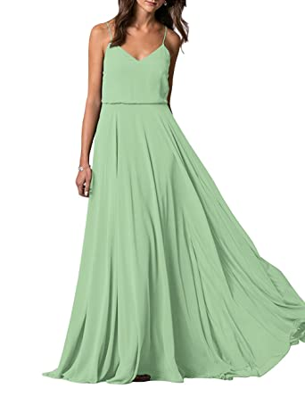 bd84f256cd Lafee Bridal V-Neck Spaghetti Straps Long Chiffon Beach Wedding Bridesmaid  Dress Sage Size 2