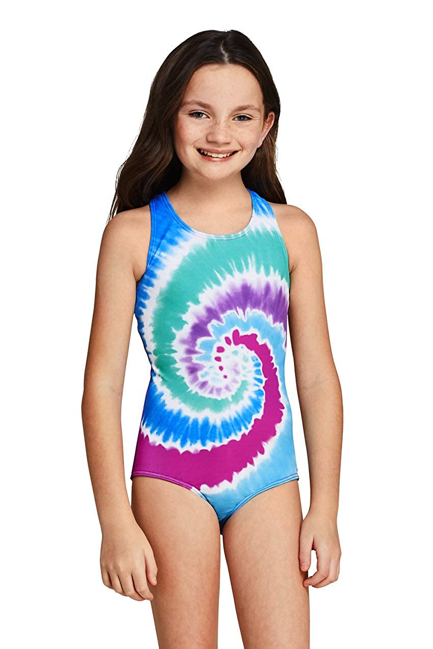 Lands End Girls Racerback One Piece Swimsuit