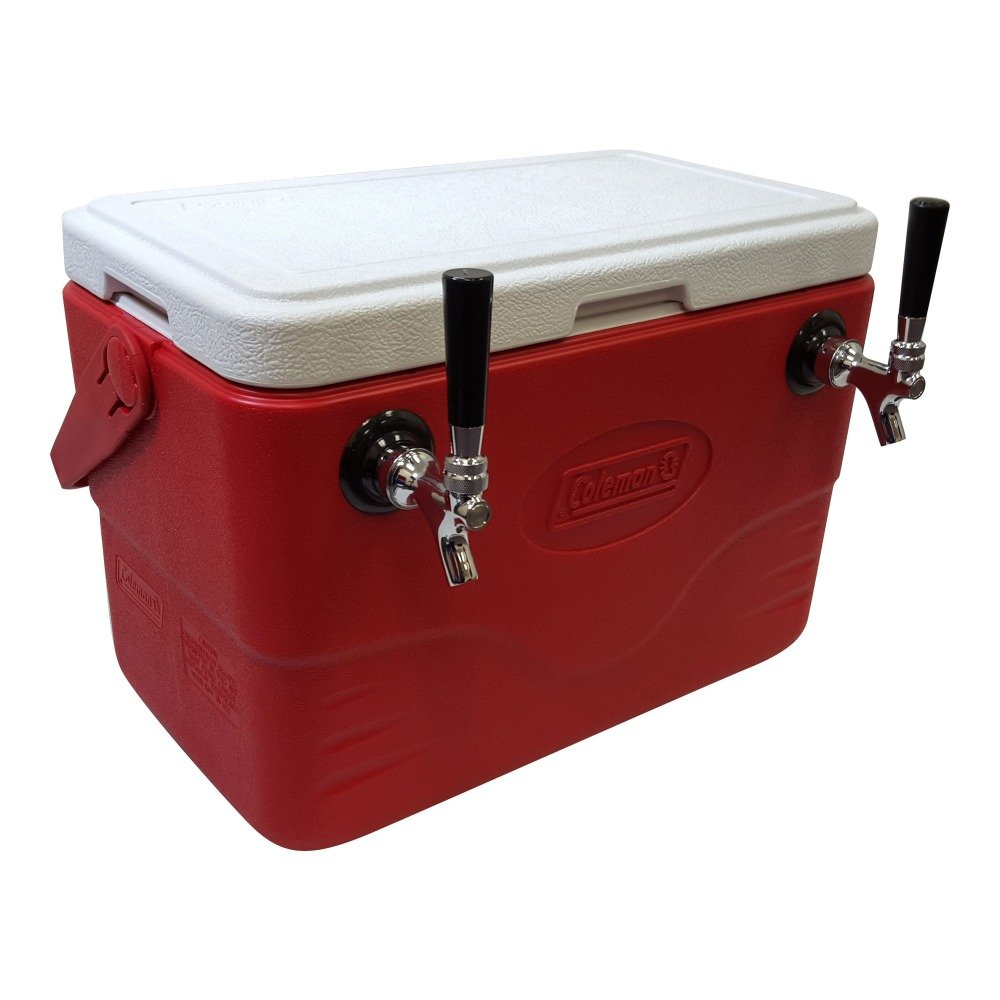 NY Brew Supply 50' Stainless Steel Coils Jockey Box Cooler with Double Faucet, 28 quart, Red