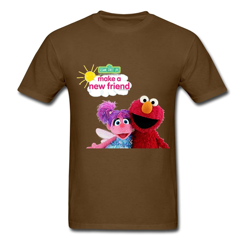 50% Off Deals! Sesame Street Live Make A New Friend Men's O Neck Tee Brown