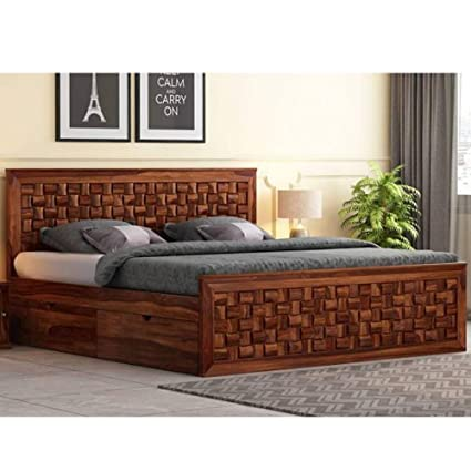 Furny Chexon Teak Wood King Size Bed With Storage Teak From Ghana 20 Years Life With Furny Assurance Termite Bore Treated Customization Emi