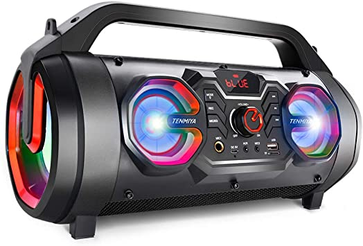 Portable Bluetooth Speakers 30w Loud Outdoor Speakers With Subwoofer Fm Radio Rgb Colorful Lights Eq Stereo Sound 10h Playtime Boombox Wireless Speaker For Home Party Camping Travel Electronics