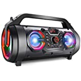 Portable Bluetooth Speakers, 30W Loud Outdoor Speakers with Subwoofer, FM Radio, RGB Colorful Lights, EQ, Stereo Sound…