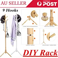 Generic * Hook Co Stand 3-Tier Hook C Coat Hanger Wooden 9 Wooden 9 Hook Storage tand 3-Tier Rack Home Tree Style Color:Random YLE Storage Hat Clothes ee Style Storage