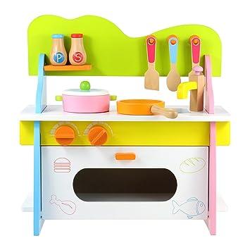 Barwa Wooden Doll Kitchen Furniture Pretend Role Play Toy Kitchen