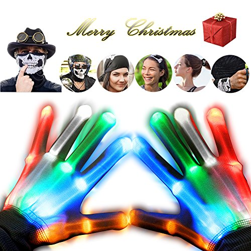 LED Gloves&Half Face Mask-Slepwel Light Up Toys-Skull Mask and Skeleton Gloves Glow Fingers in the Dark with 5 Colorful Lights 6 Modes for Rave Party,EDM Festival,Light Show,Novelty Christmas Gifts