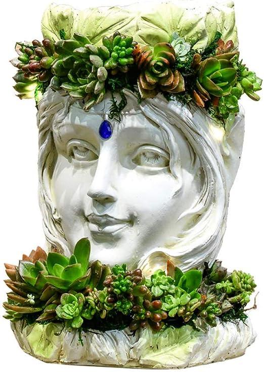 アート装飾樹脂クリエイティブ白鳥女神プランターバロック植物動物庭彫刻像装飾、女神+ホワイト