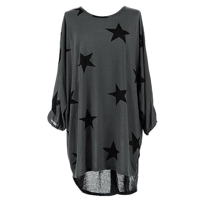 Yidarton Damen Oversize Tunika Bluse Sommer Kleider Drucken Langarm T Shirt  Runder Lose Oberteil (XL 06bd6d5b24
