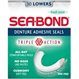 SEA-BOND Denture Adhesive Wafers Lowers Fresh Mint 30 Each (Pack of 3)