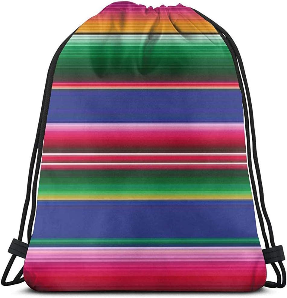 Arvolas Bolsas con cordón de Gimnasio Rayas Coloridas de la Manta Mexicana 01 Bolsa de extracción de Cuerda Bolsas de cincho Ligeras Bolsa de Almacenamiento portátil para Acampar Deportivo
