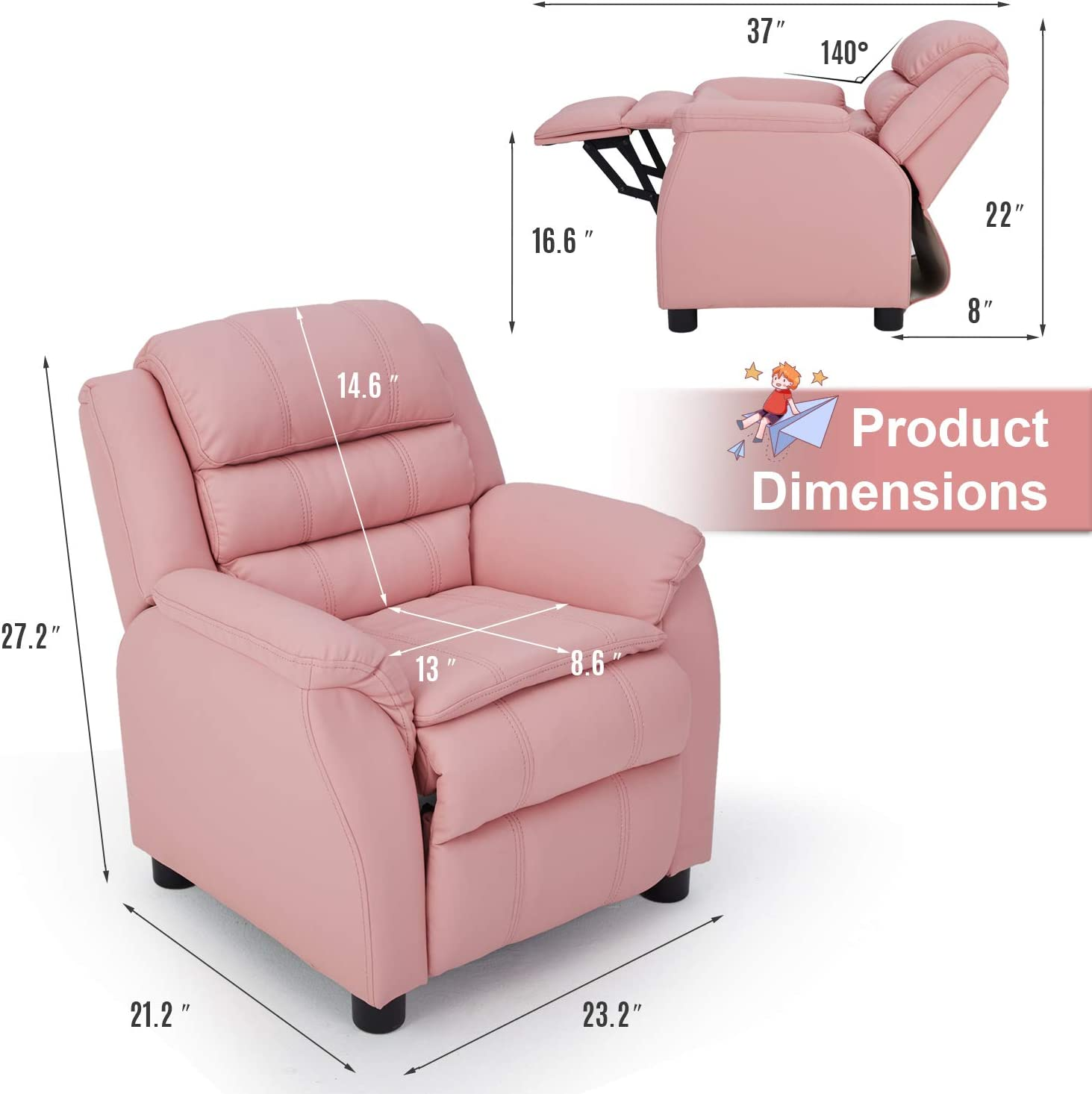 Pink Children Recliner PU Leather Armchair for Toddler Boys Girls Lightweight Sofa Chair 4+ Age Group Esright Kids Recliner Chair