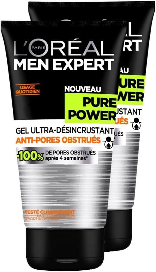LOréal Men Expert Pure Power Ultra Gel Limpiador Men - Juego de 2: Amazon.es: Salud y cuidado personal