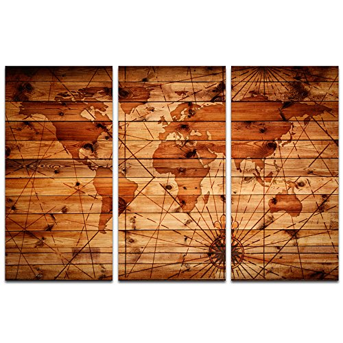 Visual Art Decor Abstract World Map on Antique Wooden Background Canvas Prints Framed Map Picture Wall Art for Living Room Office Decoration Artwork (16