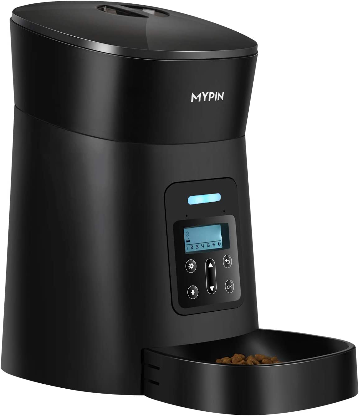 MYPIN Automatic Feeder for Cats Dogs Small Pets, Food Dispenser Timer Programmable and Portion Control up to 6 Meals/Day, Voice Recorder, Low Food Alarm and Infrared Detection (Black)
