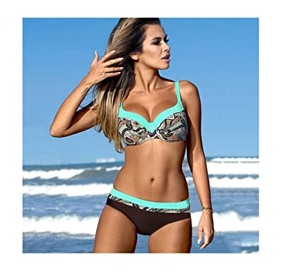 35541a836a01c Amazon.com  Sexy Striped Swimwear Women Push Up Bikini Set Retro Plus Size  Swimsuit  Clothing