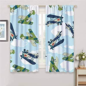 Thermal Insulated Tie Up Curtain for Kids Room Vintage Allied Plane Flying Pattern Cartoon Children Kids Repeating Toys Shark Teeth Wedding Party Home Bedroom Wall Decorations W55 x L45 Inch