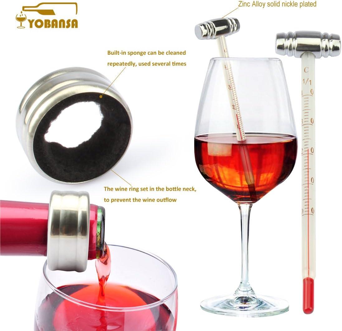 anello per vino cavatappi per vino YOBANSA Scatola di legno Accessori per vino Set regalo tappo per vino termometro per vino versatore vino
