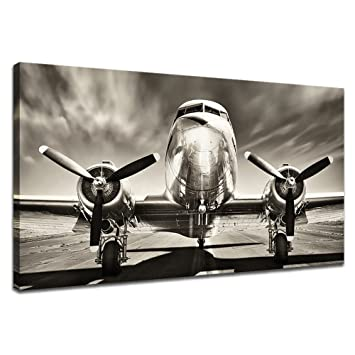 Amazon.com: KLVOS - Black and White Wall Art Large Turbine Fighter ...