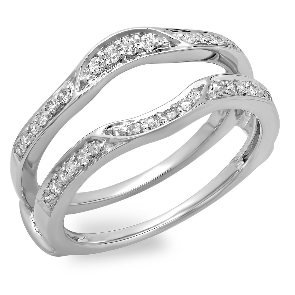 Silvernshine Jewels 14k White Gold Fn .50 Ct White Diamond CZ Round Solitaire Ring Guard Wrap Ring