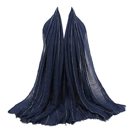 Damen Accessoires Womens Long Navy Blue Crinkle Fashion