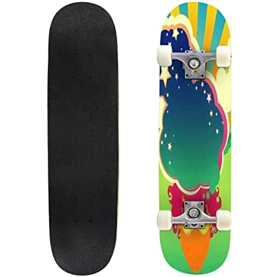 Classic Concave Skateboard psychedelic1960s Style Poster Background Longboard Maple Deck Extreme Sports and Outdoors Double Kick Trick for Beginners and Professionals : Sports & Outdoors