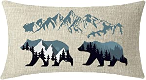 ITFRO Enjoy Holiday Outdoor Sports Forest Landscape Wildlife Animal Bears Mountains Lumbar Waist Cotton Linen Throw Pillow Case Cushion Cover Couch Sofa Decorative Rectangle 12x20 inches…