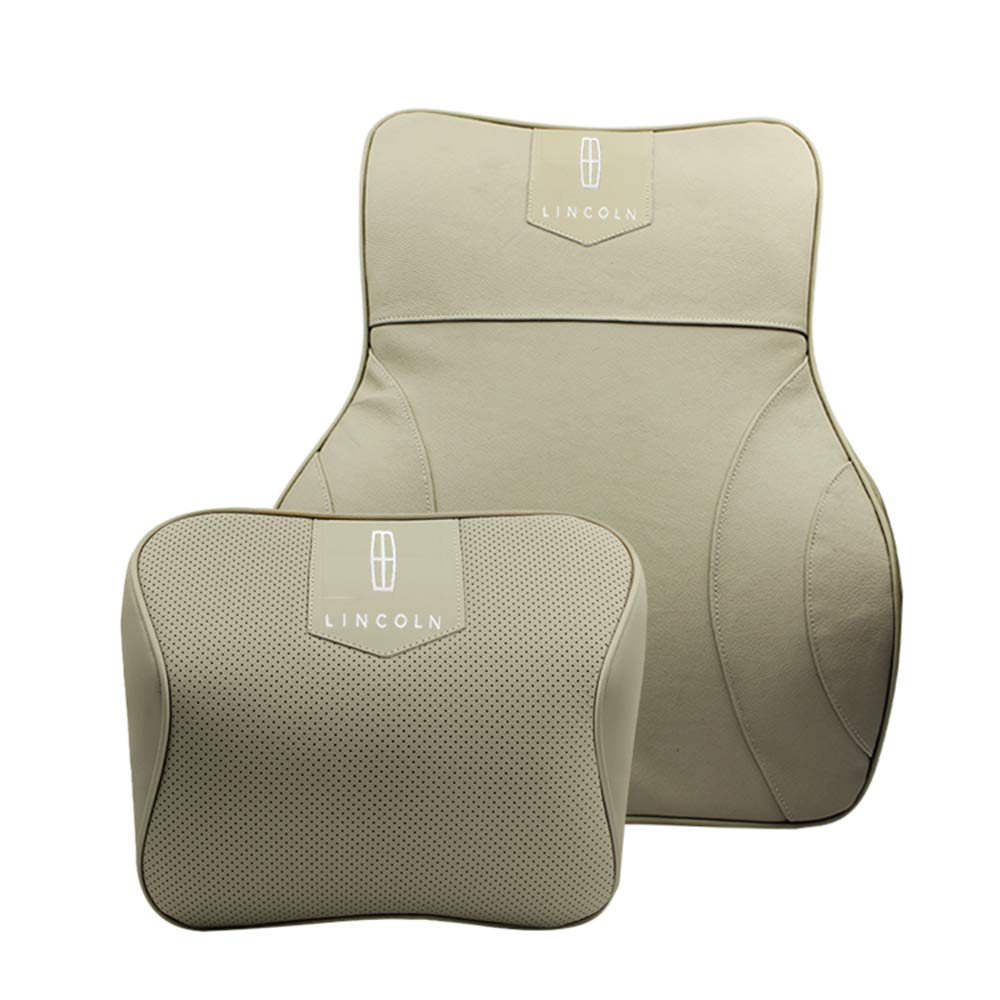 Forno Cowhide Car Seat Lumbar Support & Neck Pillow Suite