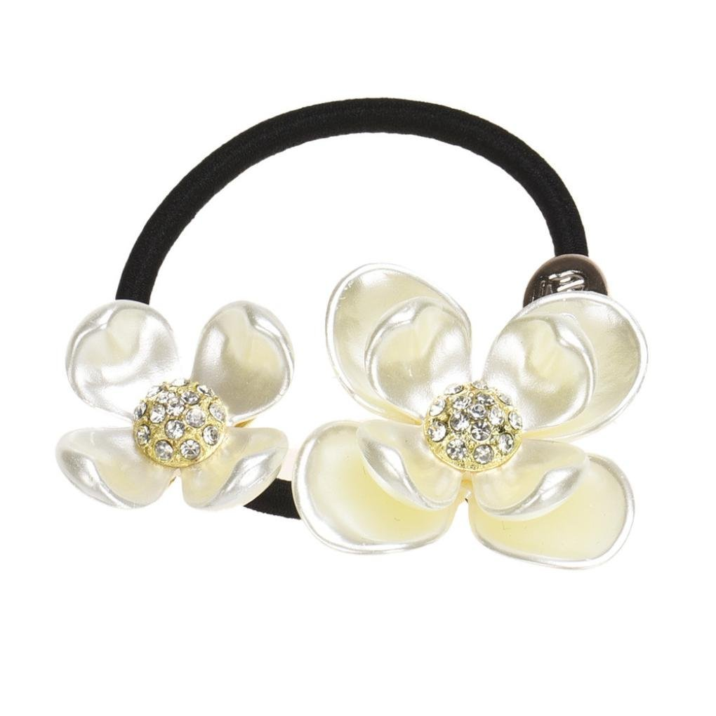 Canserin Pearls Diamond Flower Hair Band Rope Scrunchie Ponytail Holder