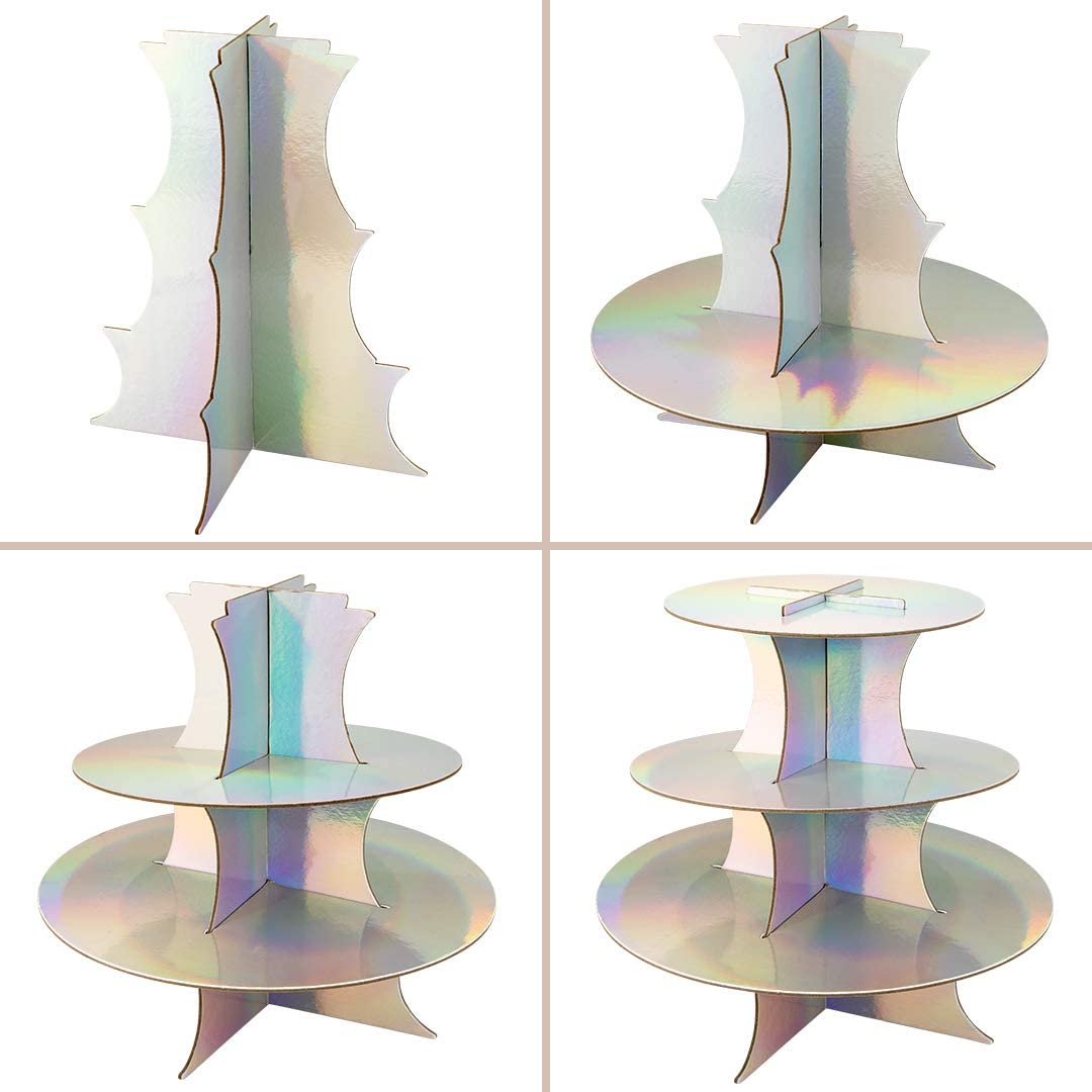 Holographic Disposable Cupcake Holder Baby Shower Bridal Shower Party Supplies Serving Platter for Birthday Andaz Press Iridescent 3 Tier Cupcake Stand Bachelorette Holds 20 Standard Cupcakes