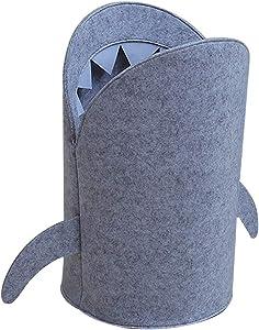 FLAMEER Felt Cloth Shark Laundry Hamper Toy Basket for Home Bedroom Kid's Room - S