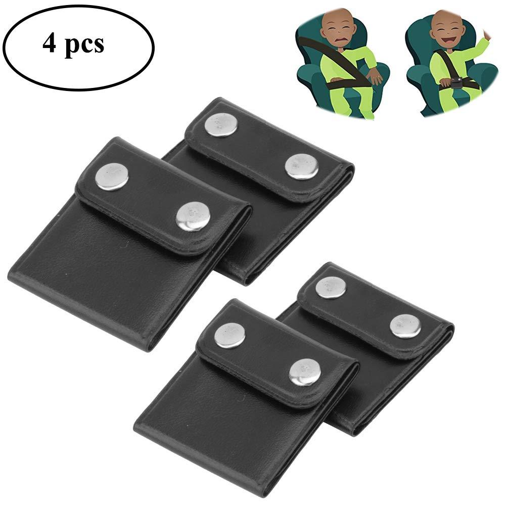 EIGIIS Seatbelt Adjuster Comfort Auto Shoulder Neck Strap Positioner Locking Clip Protector Universal Vehicle Car Seat Belt Safety Covers for Kids Adult Pregnancy (Black)