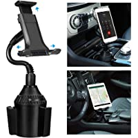 Cup Phone Holder Car Mount TOOVREN Tablet & Cell Phone Car Cupholder Cradle Phone Mount with Adjustable Gooseneck for Apple iPad Pro, iPhone 11/11 Pro Max/X//XR/XS Max/8/7 Plus, Samsung Note 10+/8/s9